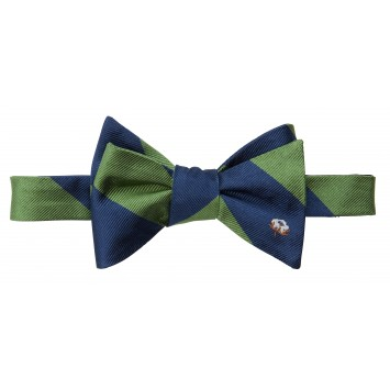 Cotton Boll Bow: Green & Navy